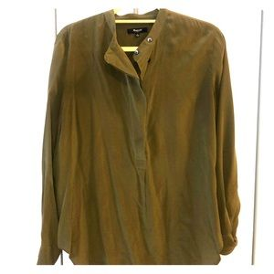 Madewell Olive Silk Blouse